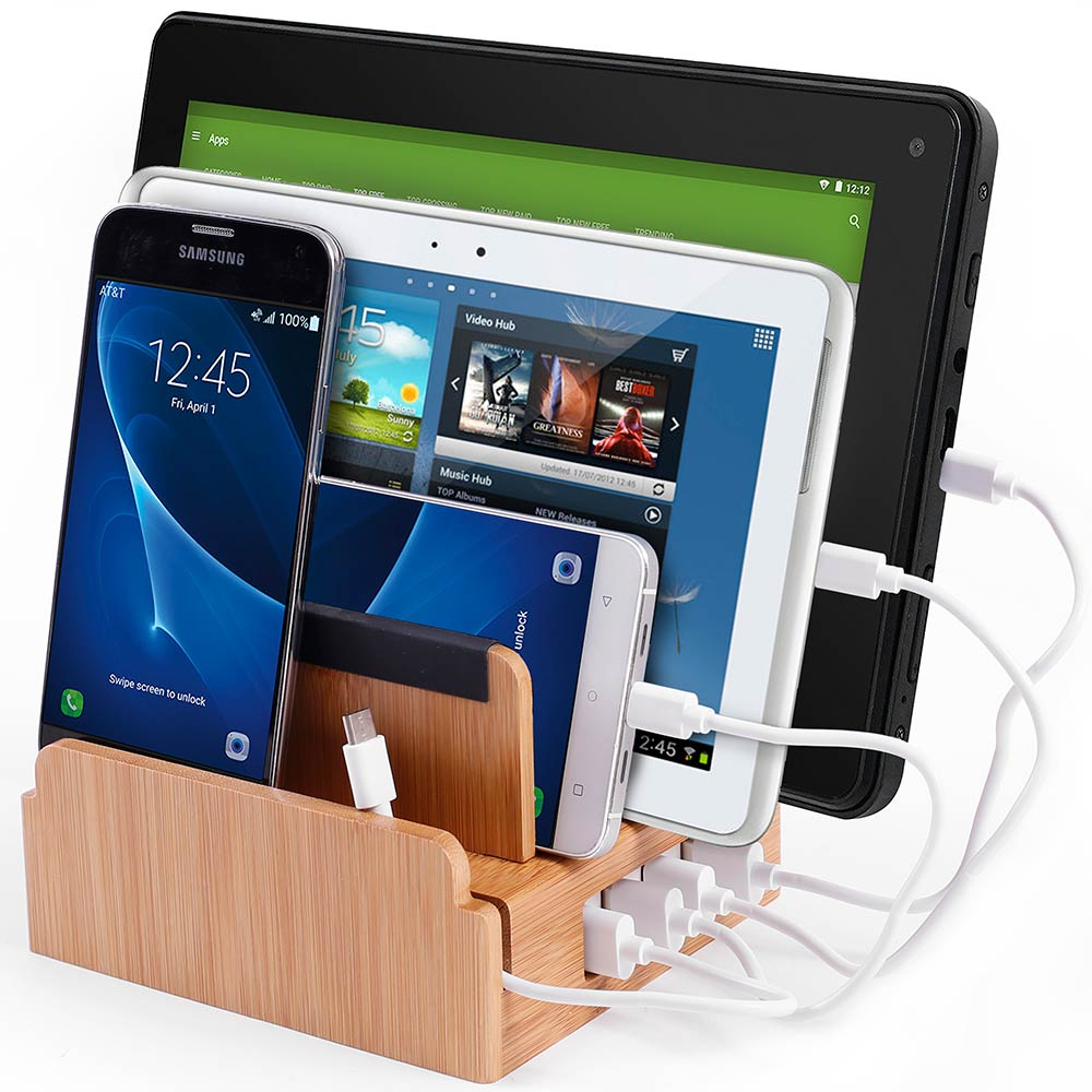 G.U.S Android/USB-C Charging Station, Detachable Universal Multi-Port USB Charging Station Desktop and Bedside Charging Stand Organizer. Eco-Friendly Bamboo PLUS Cable Ties & Set of 4 Cables