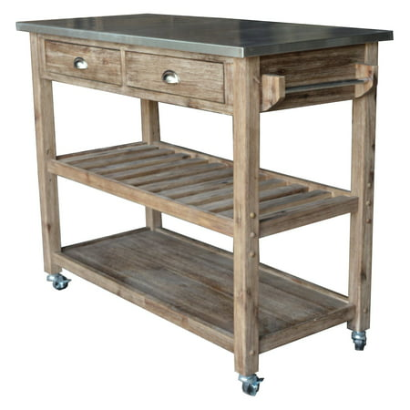 - Boraam Industries Sonoma Wire-Brush Kitchen Cart, Gray Finish