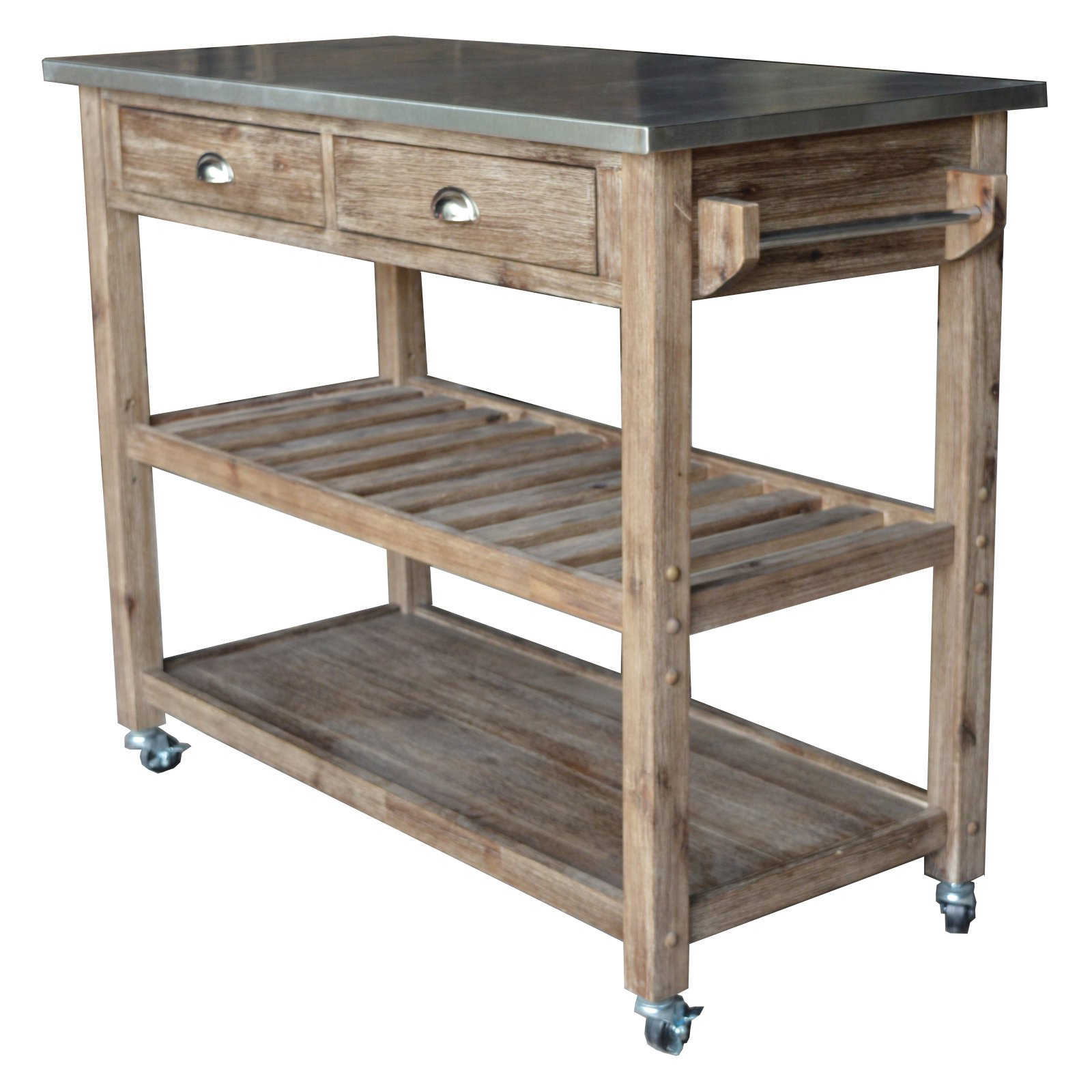 Boraam Industries Sonoma Wire-Brush Kitchen Cart, Gray