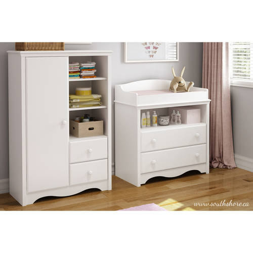 South Shore Angel Changing Table and Armoire with Drawers, Multiple Finishes