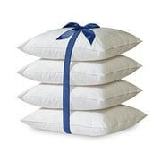 Home Sweet Home 4-Pack Hypoallergenic Down-Alternative Embossed Dobby Stripe Bed Pillow (Standard, White)