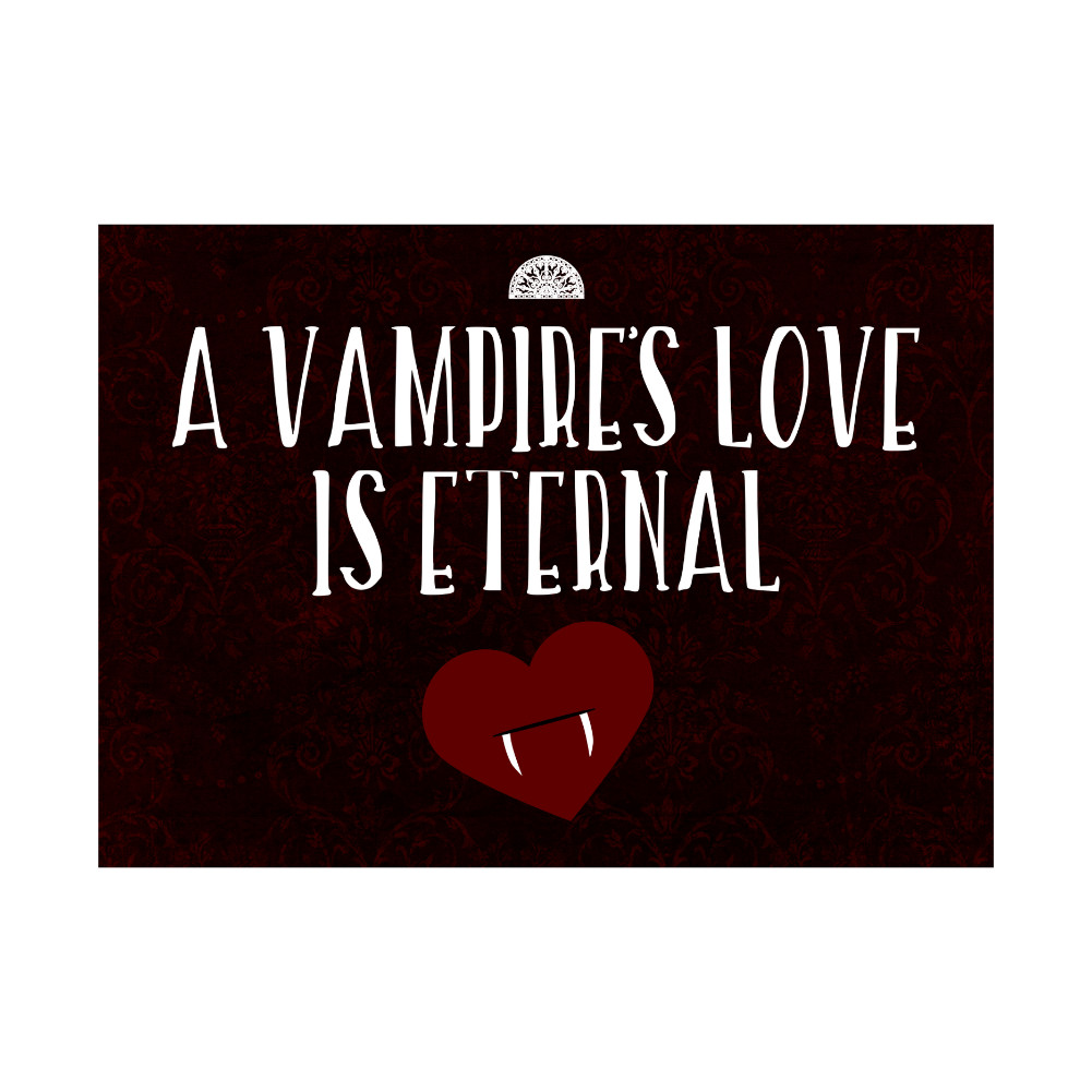 A Vampires Love Is Eternal Print Heart With Fangs Picture Large Fun Scary Humor Halloween Seasonal Decoration 12x18