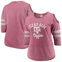 Texas A&M Aggies Pressbox Women's Plus Size Vintage Wash Cold Shoulder Raglan 3/4-Sleeve T-Shirt - Maroon