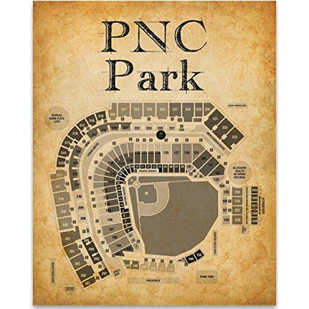Pnc Park Stadium Baseball Seating Chart Art Print 11x14 Unframed Art Print Great Sports Bar Decor And Gift For Baseball Fans Walmart Com Walmart Com