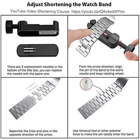 Fwheel Compatible with Apple Watch Band 38mm,Stainless Steel Replacement Watch Band with Double Button Folding Clasp - image 4 of 5