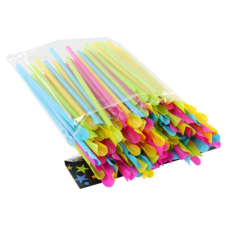 Plastic Neon Sno-Cone Straws with Spoons, Assorted Colors, Pack of 200