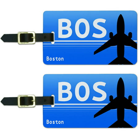 Boston MA (BOS) Airport Code Luggage Suitcase Carry-On ID Tags, Set of (Boston Airport Stores)