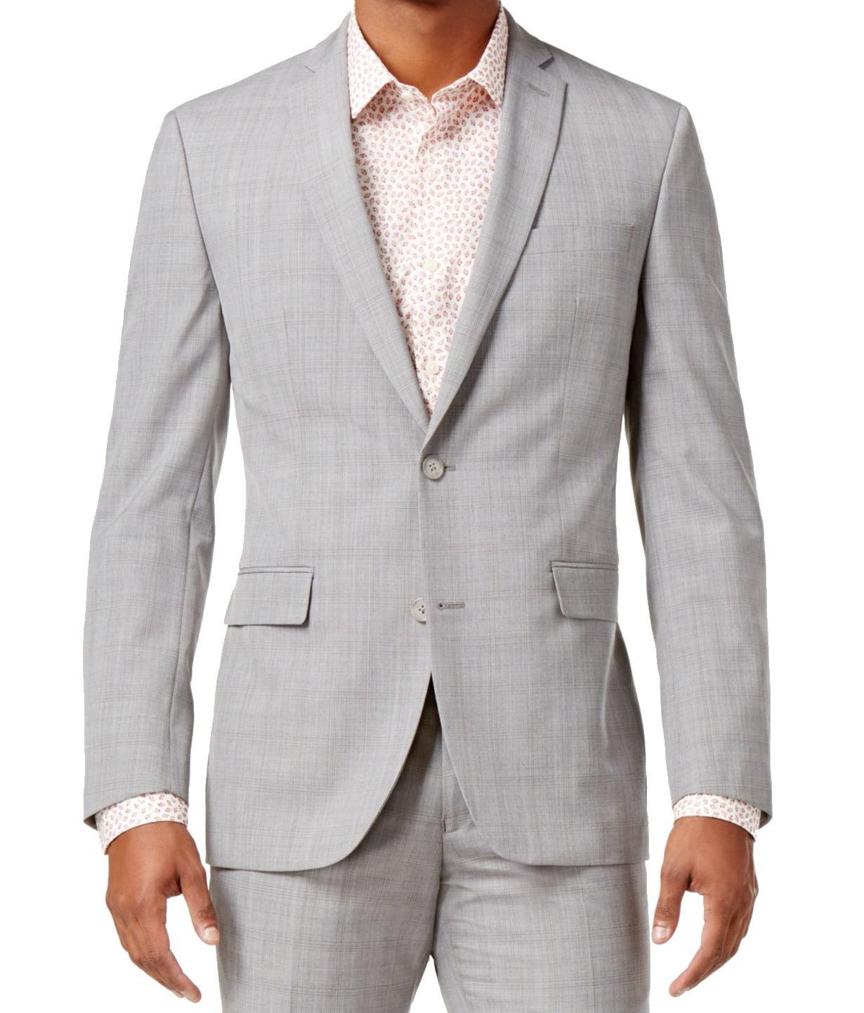 Bar III Mens Wool Slim Fit Two-Button Blazer Gray 42S