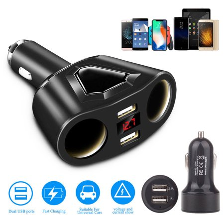 (120W Dual USB Ports 3.1A Fast Charging w/ 2 Socket Cigarette Lighter Splitter Car Power Adapter, Two USB Ports Car Charger for Smart Phones Tablet GPS Devices)