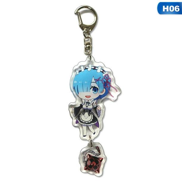 Rem /& Ram Re Zero Rem acrylic Keychain Key Ring Two faces Bag Keyring