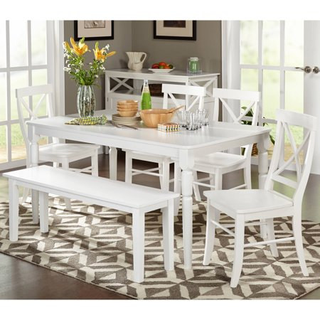 albury 6 piece cross back dining set with bench multiple colors. Black Bedroom Furniture Sets. Home Design Ideas