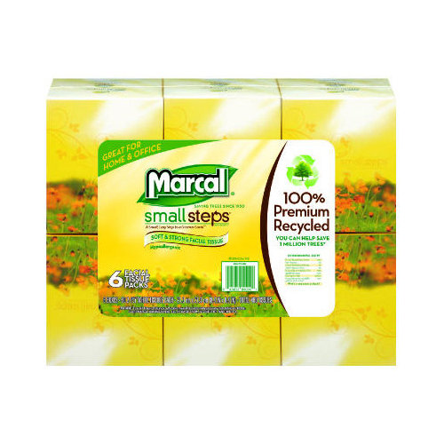 Marcal Paper Mills, Inc. 100pct Recycled Facial 2-Ply Tissues - 80 Tissues per Box (Set of 7)