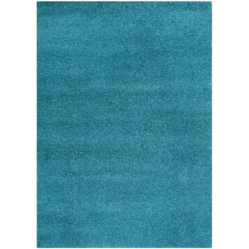 "Safavieh Laguna Shag 6'7"" Square Power Loomed Rug in Turquoise - image 8 of 10"