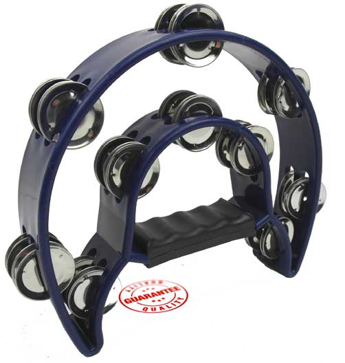 D'Luca 9 Inches Double Cutaway Half Moon Tambourine Blue by D'Luca