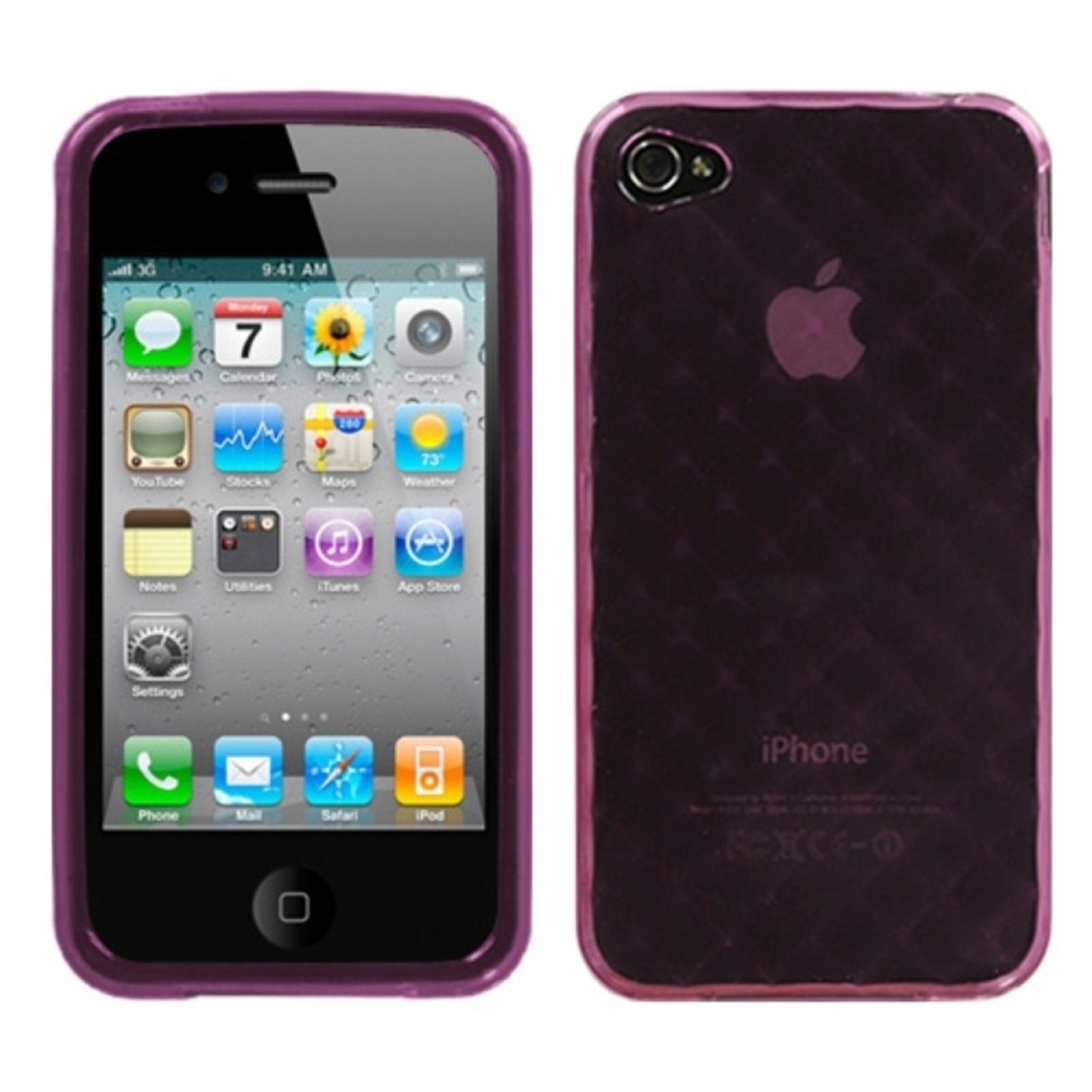 Insten Purple Diamond Candy Skin Case For iPhone 4 4S