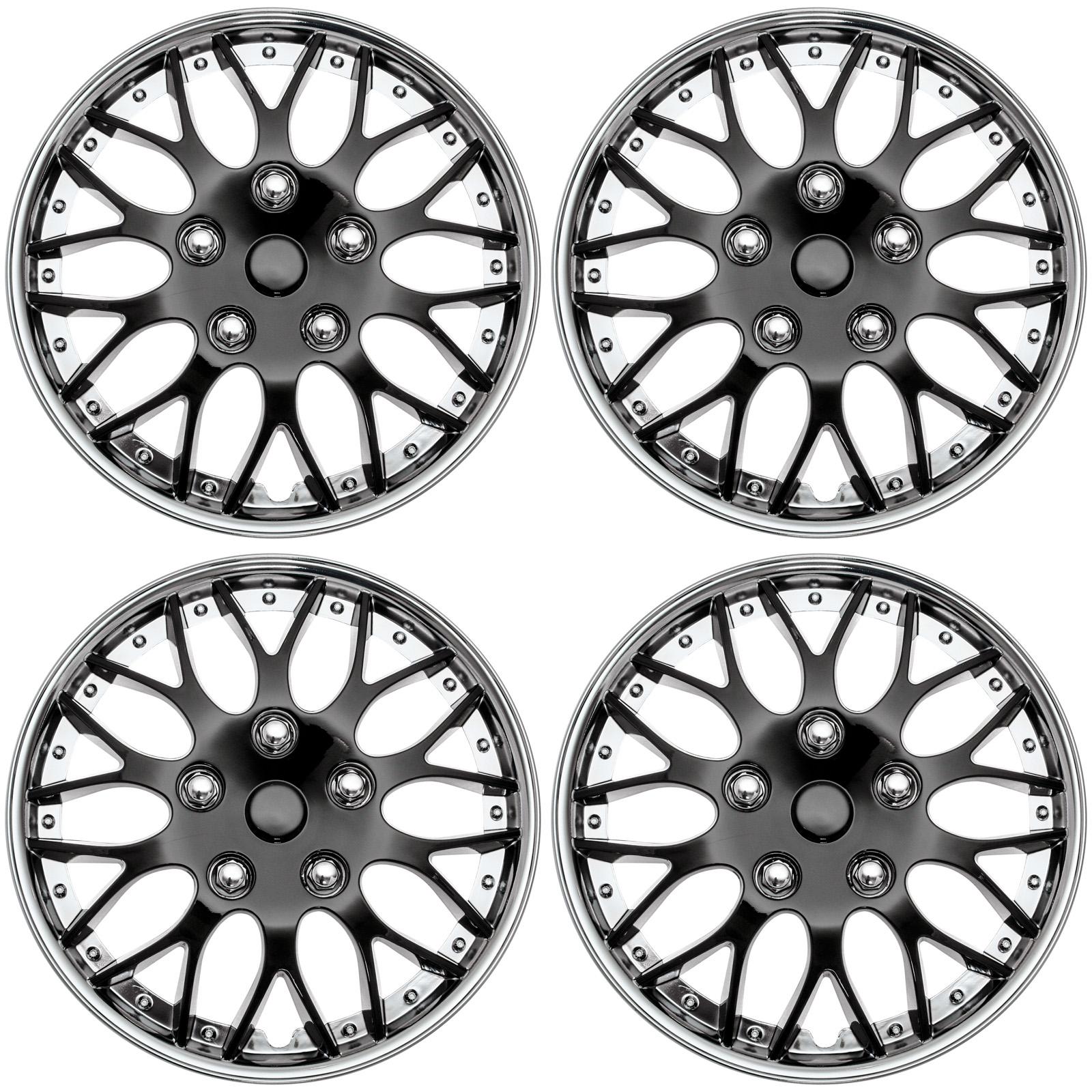 "Cover Trend (Set of 4), Aftermarket, 16"" Shiny Black W/ Chrome Trim Hub Caps Wheel Covers"
