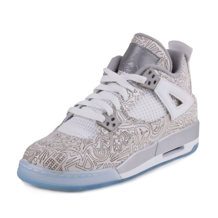 Nike Mens Air Jordan 4 Retro Laser BG White Chrome-Metallic Silver ... e2ea9941501