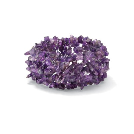 Genuine Purple Amethyst Nugget Stretch Bracelet