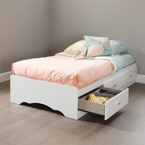 South S Tiara Twin Storage Bed 39, White Twin Storage Bed Drawers