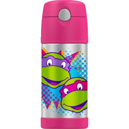 Thermos Funtainer Vacuum Insulated 12 Ounce Teenage Mutant Ninja Turtles Pink Straw Bottle