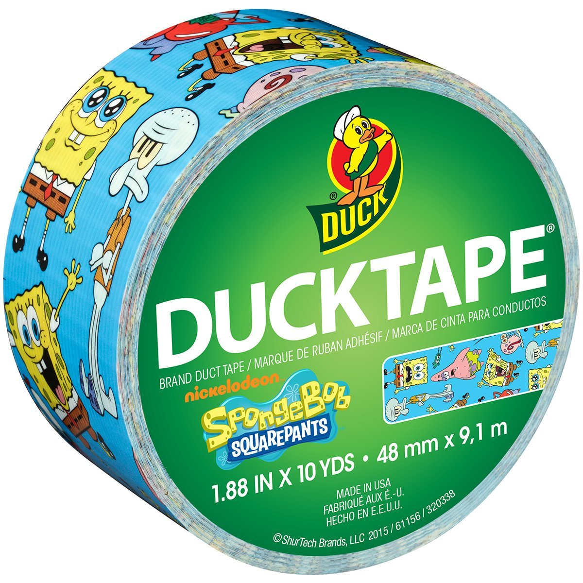 Brand 284083 Licensed Duct Tape, SpongeBob SquarePants, 1.88 Inches x 10 Yards, Single Roll, Excellent for crafting, fun and imaginative projects By Duck