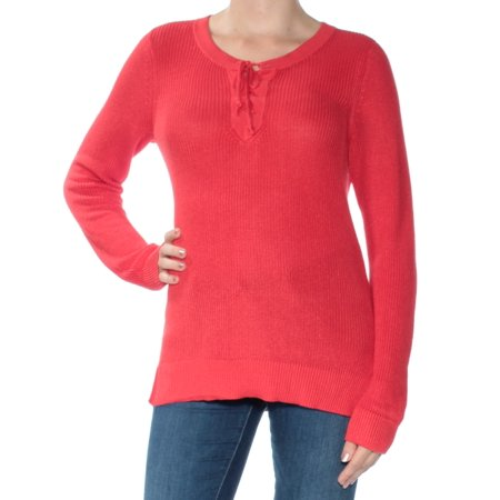 RALPH LAUREN Womens Red Long Sleeve Jewel Neck Sweater  Size: M