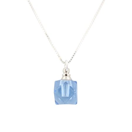 Faceted Blue Glass Essential Oil Diffuser Necklace on Sterling Box Chain, #6618 (16 Inches)