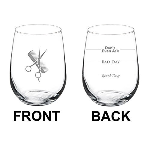 17 oz Stemless Wine Glass Funny Two Sided Good Day Bad Day Don't Even Ask Hairdresser Stylist Scissors Comb by