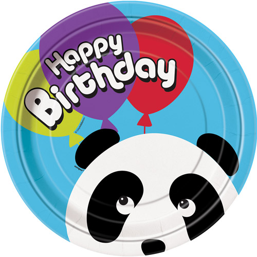 "9"" Birthday Panda Dinner Plates, Multicolor, 8pk"