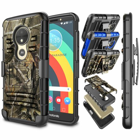 Moto E5 Play Case, Moto E5 Cruise Holster Belt Clip, Njjex Heavy Duty Hybrid FullBody Combo Rugged Holster Protetive Case Cover with Kickstand & Belt Swivel Clip for Motorola Moto E5 Play (Camouflage)