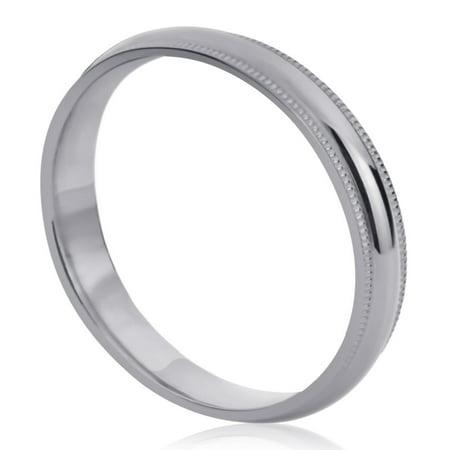 Comfort Fit Milgrain Edge (14K White Gold Wedding Band 4mm Milgrain Edges Domed Classy Comfort Fit)