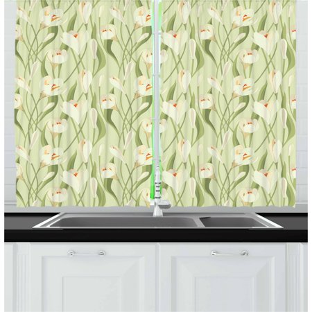 Garden Art Curtains 2 Panels Set, Spring Flowers Bouquet Crocuses with Healthy Fresh Petals Botanical, Window Drapes for Living Room Bedroom, 55W X 39L Inches, Pale Green Cream Orange, by Ambesonne