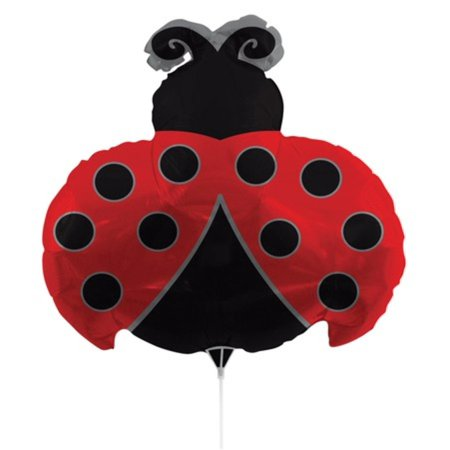 Pack of 10 Metallic Ladybug Red and Black Foil Party Balloons with Sticks 30