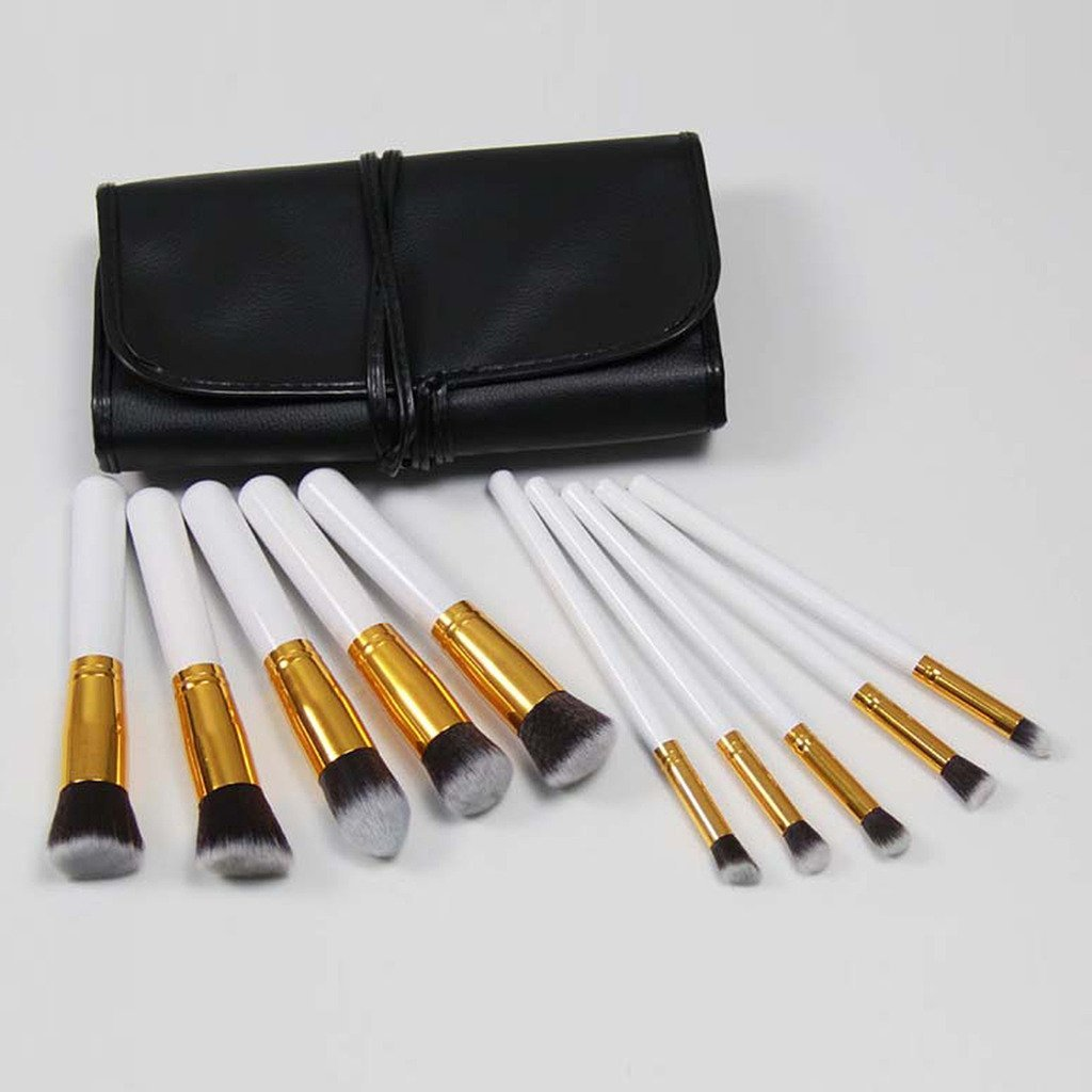 Coastacloud 10pcs Professional Makeup Set Brushes Tools Various Colors With PU Leather Bag