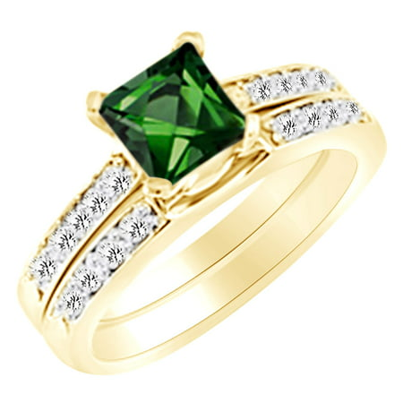 (1.35 cttw) Simulated Green Emerald & White Natural Diamond Engagement Wedding Ring Set In 14k Yellow Gold With Ring Size 4 Ct Tw Diamond Emerald Ring