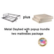 """Metal Day Bed (Daybed) Frame & Pop up 33"""" Trundle with Great Firm Mattresses Included Package Deal!"""