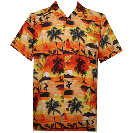 Hawaiian Shirt 43 Mens Allover Scenic Party Aloha Holiday Beach Orange 4XL