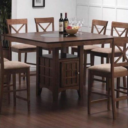coaster hyde counter height dining table with storage in walnut. Black Bedroom Furniture Sets. Home Design Ideas