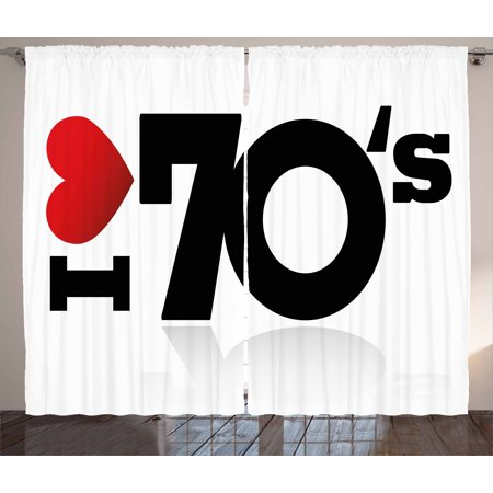 70s Party Decorations Curtains 2 Panels Set, Love The Seventies Theme Stylized Letters and Heart Sign Oldies, Window Drapes for Living Room Bedroom, 108W X 84L Inches, Red Black White, by Ambesonne
