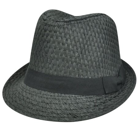 STRAW GRAY GREY PAPER HAT CAP FEDORA TRILBY CHARCOAL SMALL MEDIUM