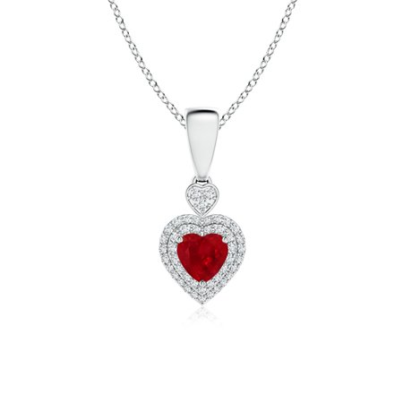 1c45a7751 Angara - Mother's Day Jewelry - Ruby Heart Pendant with Diamond Double Halo  in Platinum (5mm Ruby) - SP0552RD-PT-AAA-5 - Walmart.com