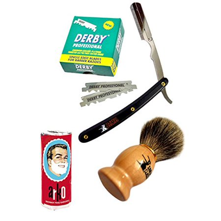Classic Samurai Mens Premium Shaving Set With Cs 101B Barber Straight Razor Shavette 100 Derby Blades  Brush Arko Soap