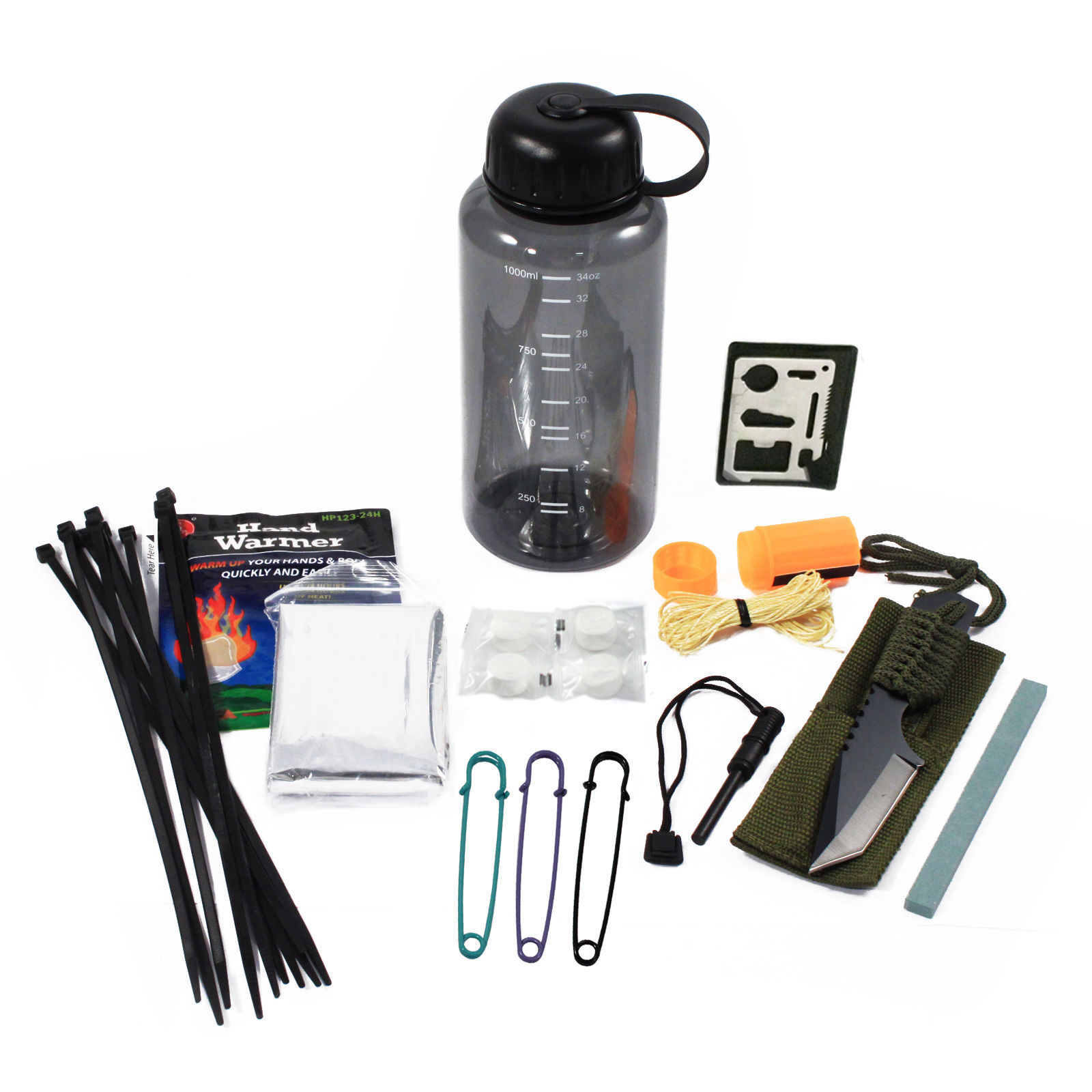 26pc Essential Outdoor Survival Kit in Bottle Portable Emergency Camping Prepper by ASR Outdoor