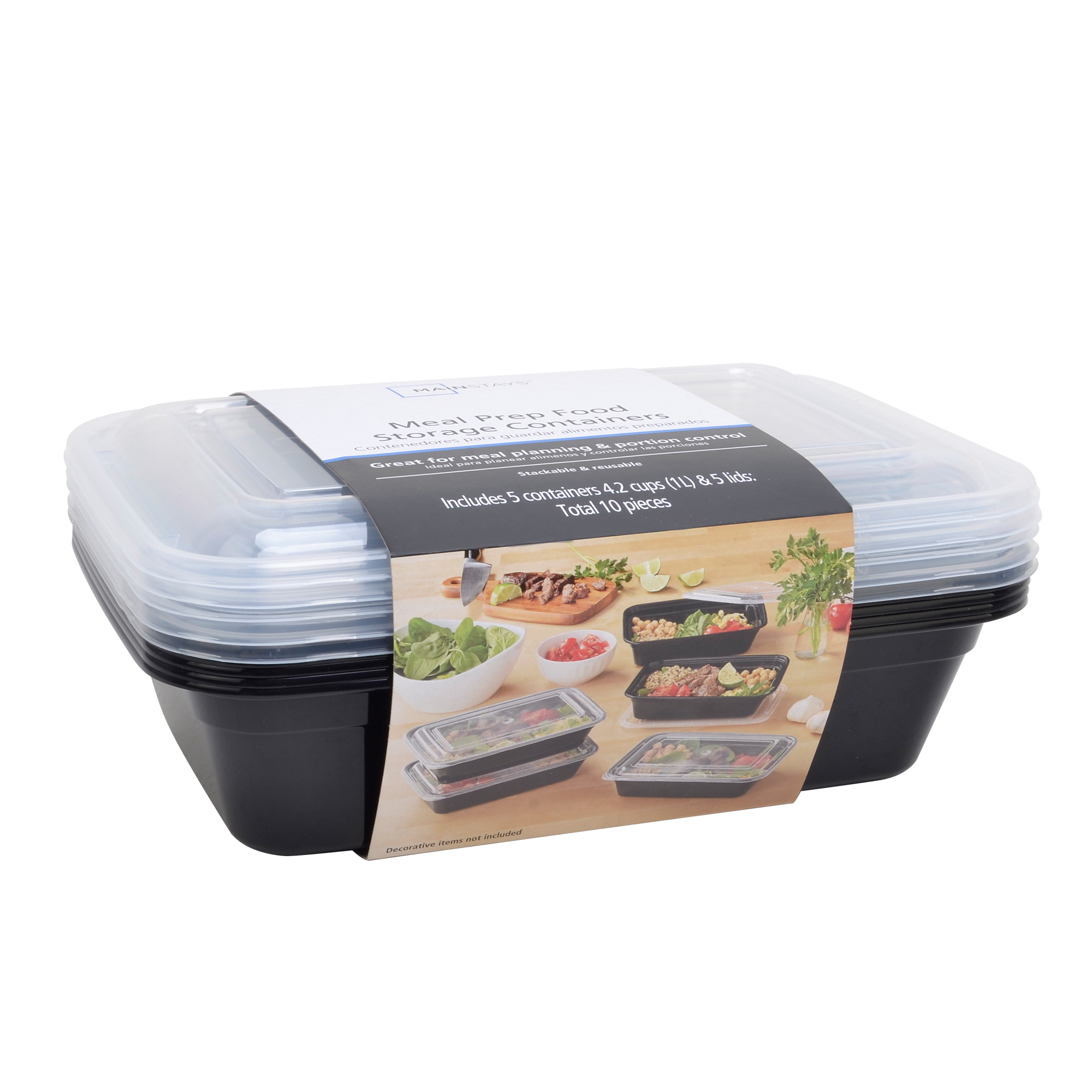 Mainstays Meal Prep Containers, 10 Piece