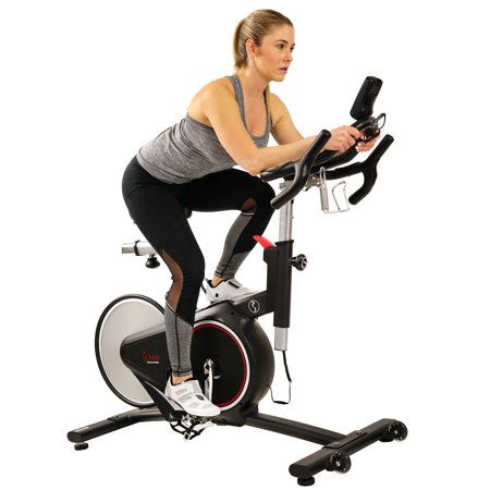 Sunny Health & Fitness Magnetic Belt Rear Drive Indoor Cycling Bike, High Weight Capacity with Cadence Sensor and Pulse Rate Monitor - SF-B1709