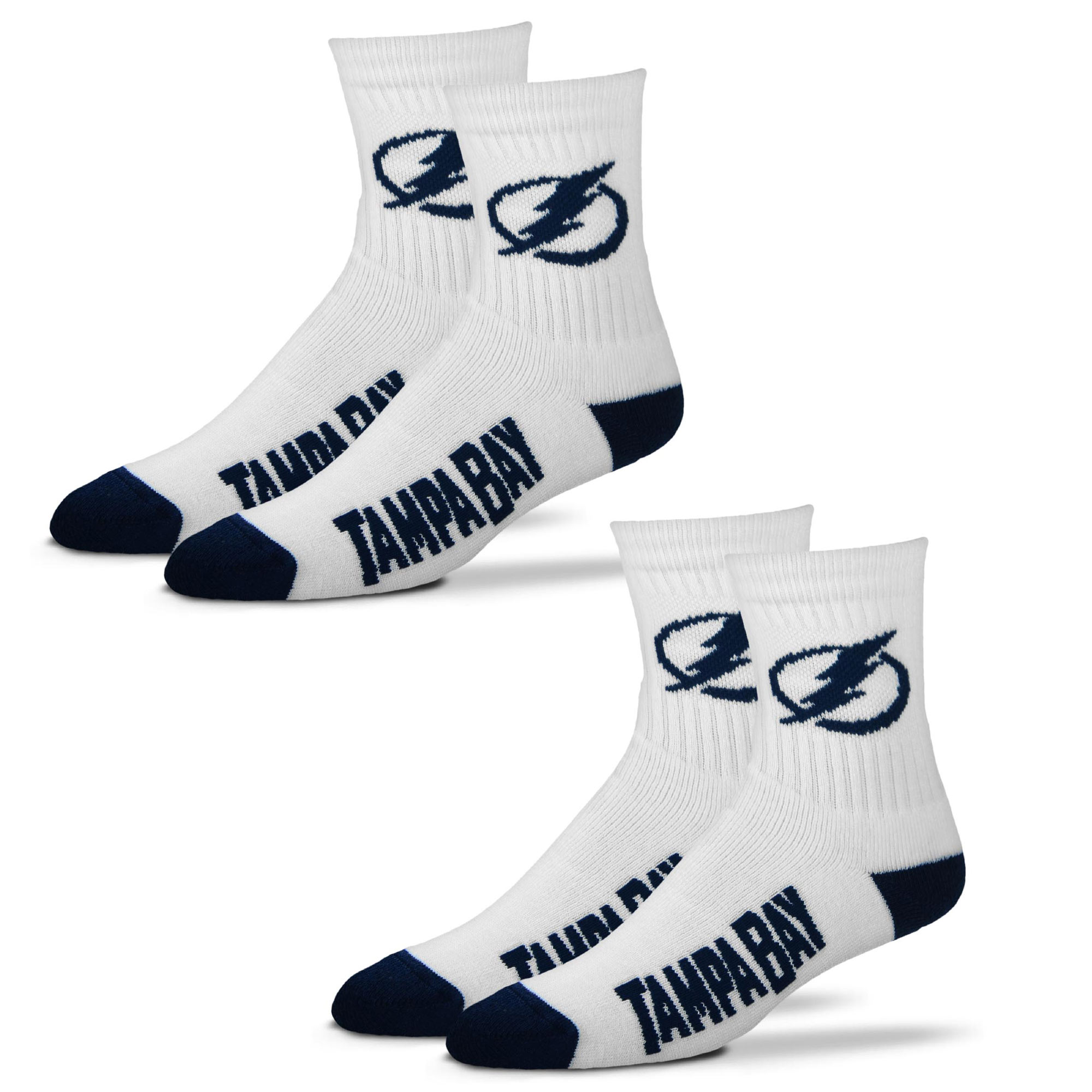 Tampa Bay Lightning For Bare Feet Women's 2-Pack Quarter-Length Socks - M