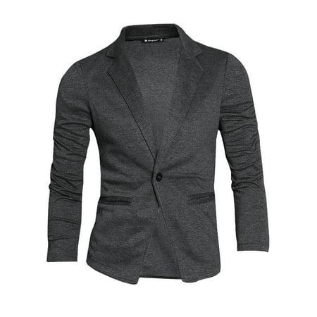 Men Notched Lapel Long Sleeve Single Button Closure Blazer - Men In Blazers Halloween