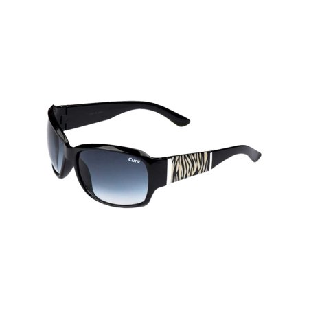 Curv Women's Riders Zebra Sunglasses - Smoke Lenses & Shiny Black Frame 01-54 ()
