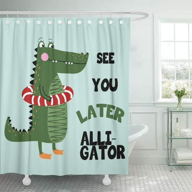 Atabie Green Wildlife Alligator White, Alligator Shower Curtain