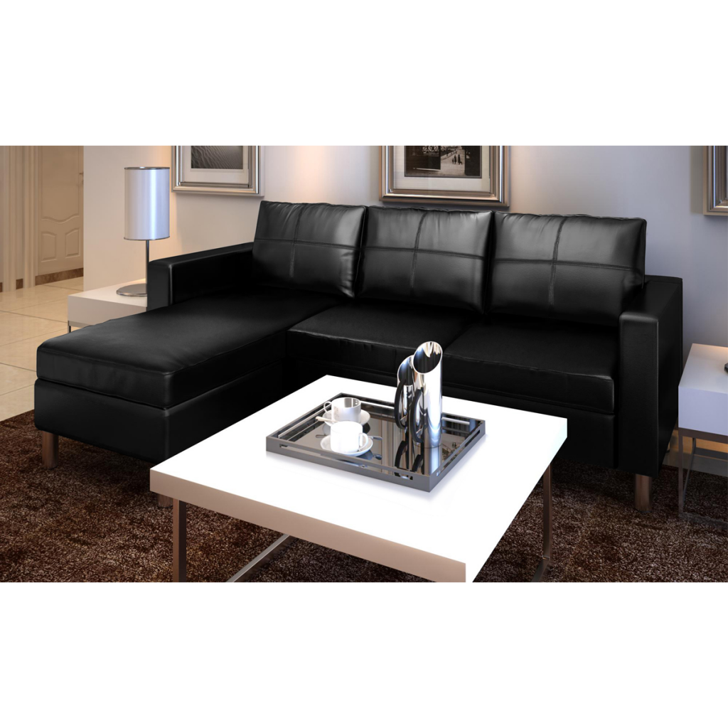 Anslef 3-Seater L-shaped Artificial Leather Sectional Sofa White Black by